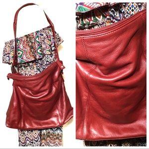 Audrey Brooke Red Leather Shoulder Strap Purse